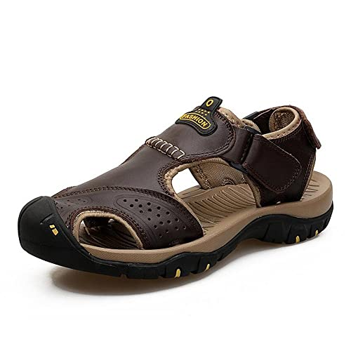 ab1a5afda2a6ea GAOLIXIA Men s Shoes Leather Spring Summer Light Soles Comfort Sandals  Walking Shoes for Casual Outdoor Baotou