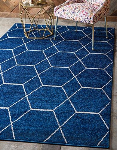 Unique Loom Trellis Frieze Collection Lattice Moroccan Geometric Modern Navy Blue Area Rug (4' 0 x 6' - Area Navy 4x6