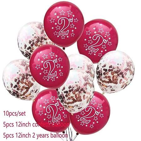 LIUUWO Balloon Feliz cumpleaños de 2 años Globo Deco Bautizo ...