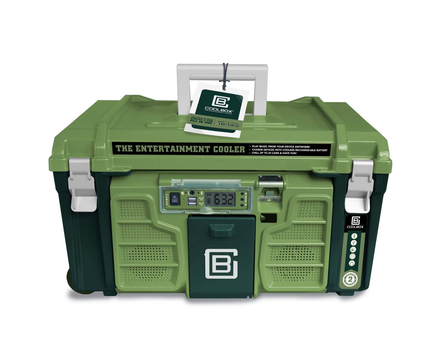 Coolbox: the Entertainment Cooler, Built-in Bluetooth Speakers, Portable and Insulated Ice Chest on Wheels for Travel, Picnics and Camping (Green)