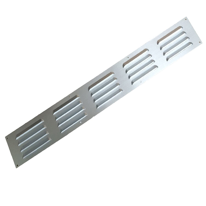 24\' x 3\' Louvre Door Vent Anodised Aluminium/Metal Chrome Grille Cover