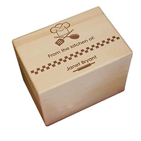 From The Kitchen Of Personalized Recipe Box Engraved Maple Wood