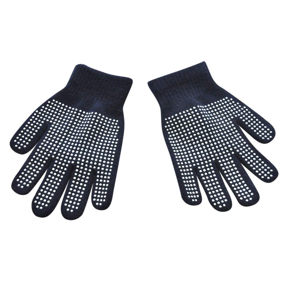Black Sikye 1 Pair Gloves for Children Kids Polyester Winter Warm Dots Anti-Slip Sport Outdoor Colorful Glove