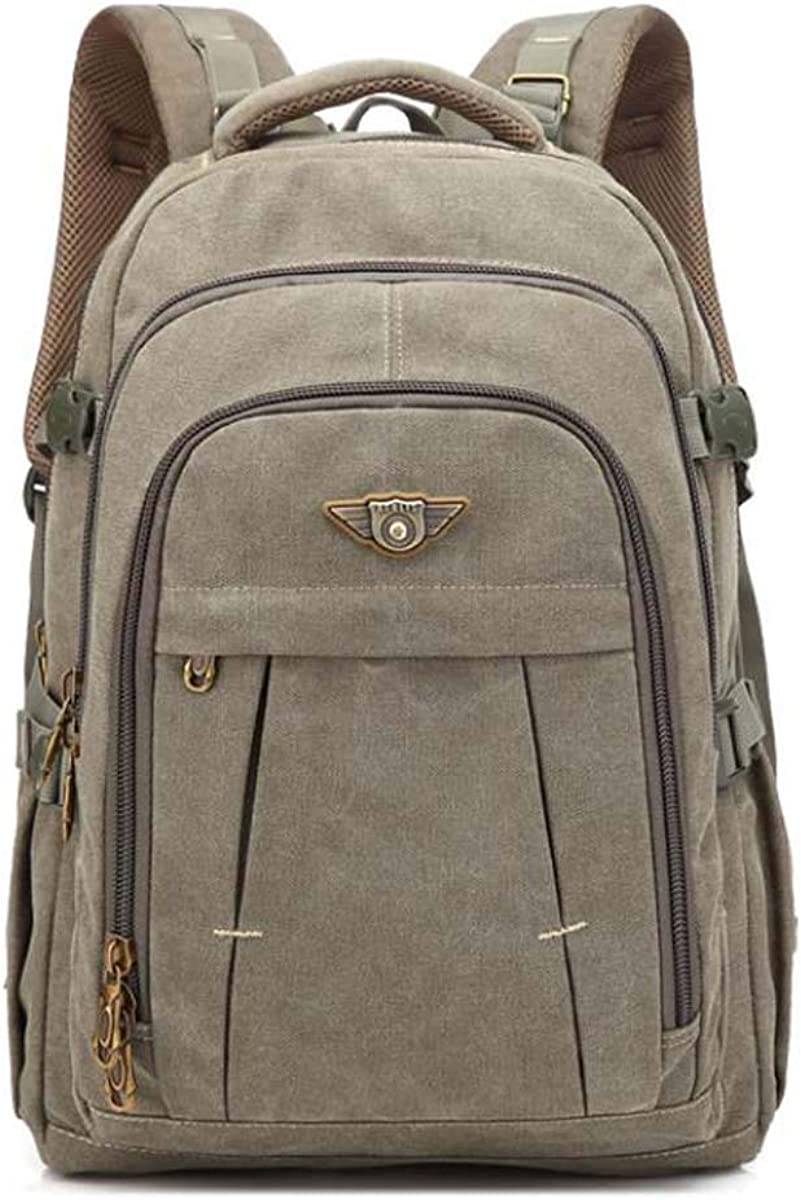 Khaki ZGSP Student Computer Backpack Retro Leisure Waterproof Anti-Theft Computer Compartment 19 inch High Capacity Student Backpack