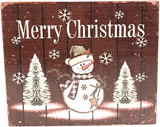 Amazon Com Direct International Farmhouse Christmas Signs Wood Blocks Assorted Styles Sizes 6 5 X 5 5 Red Merry Christmas Home Kitchen
