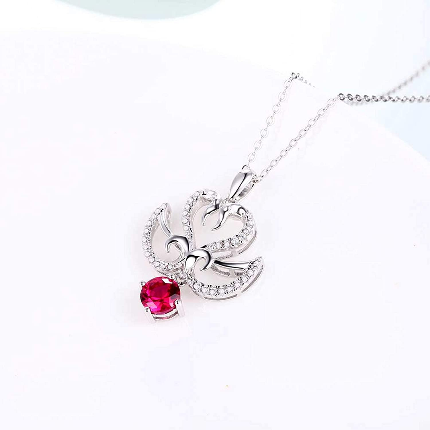 MMC Silver Necklaces Engagement Classic Red Ruby Womens Pendants