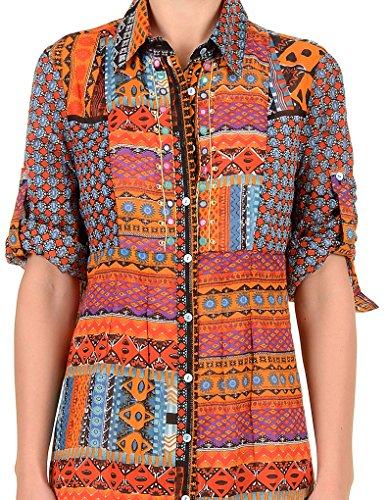 Iconique IC7-027 Women's Orange Aztec Camisole Beach Dress