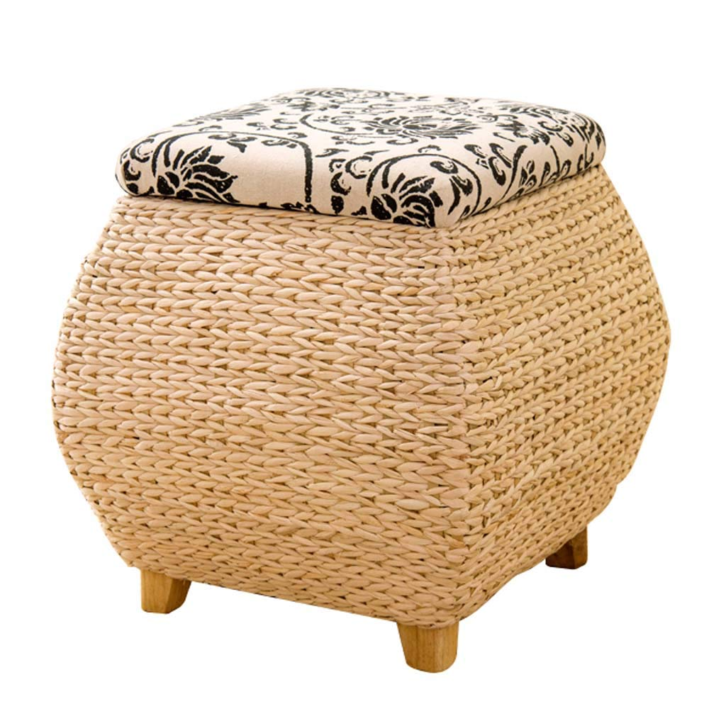 Simple Storage Stool Rattan Footstool, Creative Home Change shoes Bench Bed End Stool, Suitable for Living Room, Bedroom, Study (40 × 40 × 42cm)
