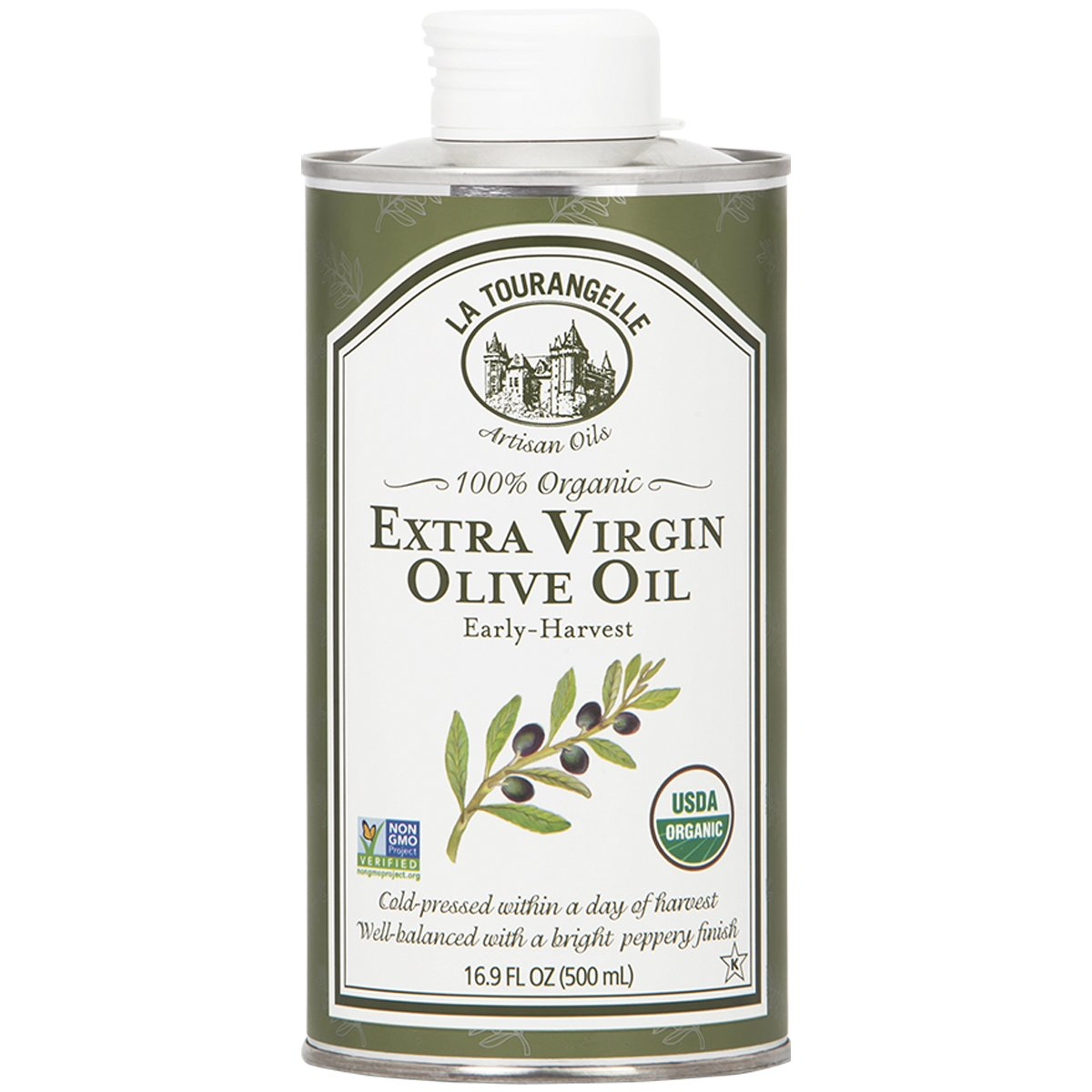 La Tourangelle Organic Extra Virgin Olive Oil 16.9 Fl. Oz, Organic Cold-Pressed Extra Virgin Olive Oil, All-Natural, Artisanal, Great for Cooking, Sauteing, and Dressing
