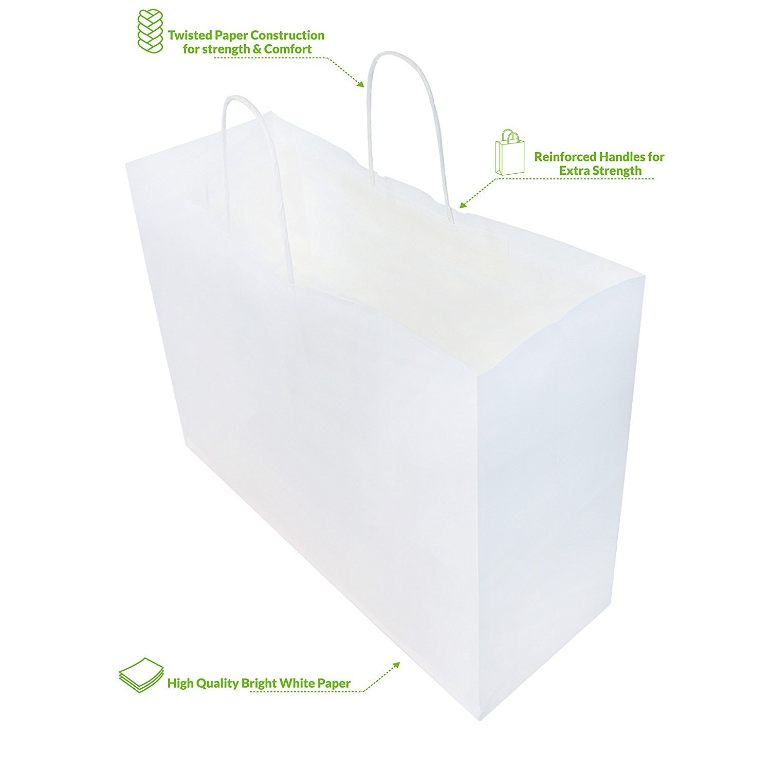 250pcs White Natural Kraft Mechandise Shopping Bag 65# Vogue, Natural White Paper Shoppers,16 x 6 x 12 1/2'' ~250 Bags-~ by SuitEase (Image #1)