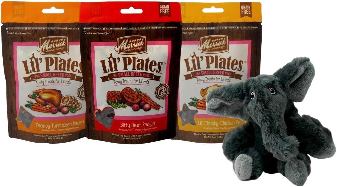 Merrick Lil' Plates Grain Free Small Breed Dog Treats 3 Flavor Variety Plus Kong Comfort Toy Bundle, (1) Each: Chicken, Beef, Turducken (5 Ounces)