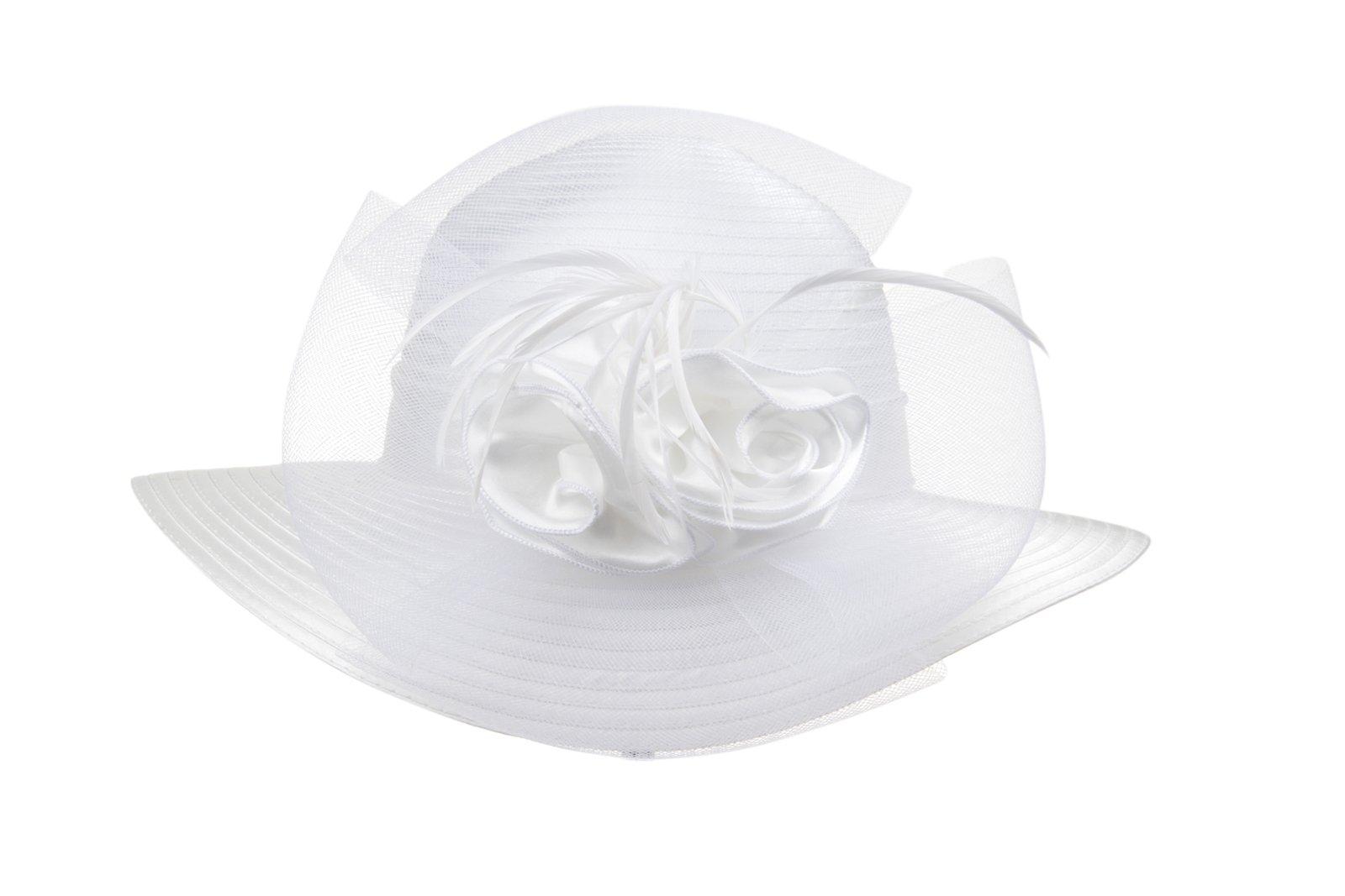 Prefe Lady's Kentucky Derby Dress Church Cloche Hat Bow Bucket Wedding Bowler Hats (White, One Size)