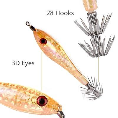 5x 10cm//6g Luminous Shrimp Prawn Baits Squid Fishing Lures Jigs Hook Bait Tackle