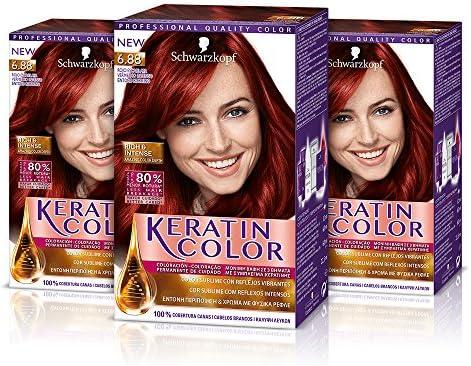 Keratin-Coloración permanente para el cabello, tono 6.88 (pack de 3)