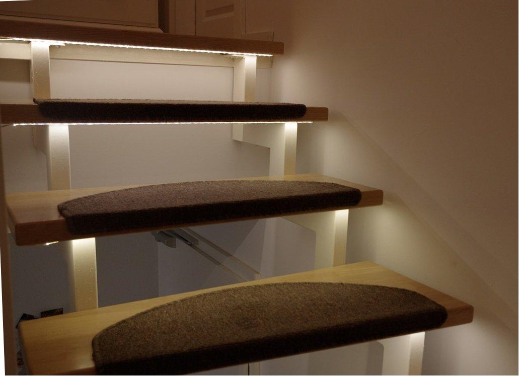 LED Treppenbeleuchtung für den Innenbereich   Warmweiß Warmweiß Warmweiß   für 6 Stufen je 1 Meter + 0,5m Anschluss   optional mit Dimmer 628679