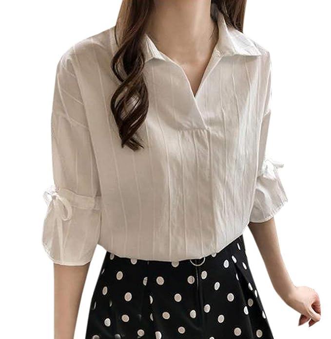 Y Otoño Señoras Moda Solapa Media Blusa Tops Camiseta Cómoda Ropa Casual Camisas De Rayas Tops