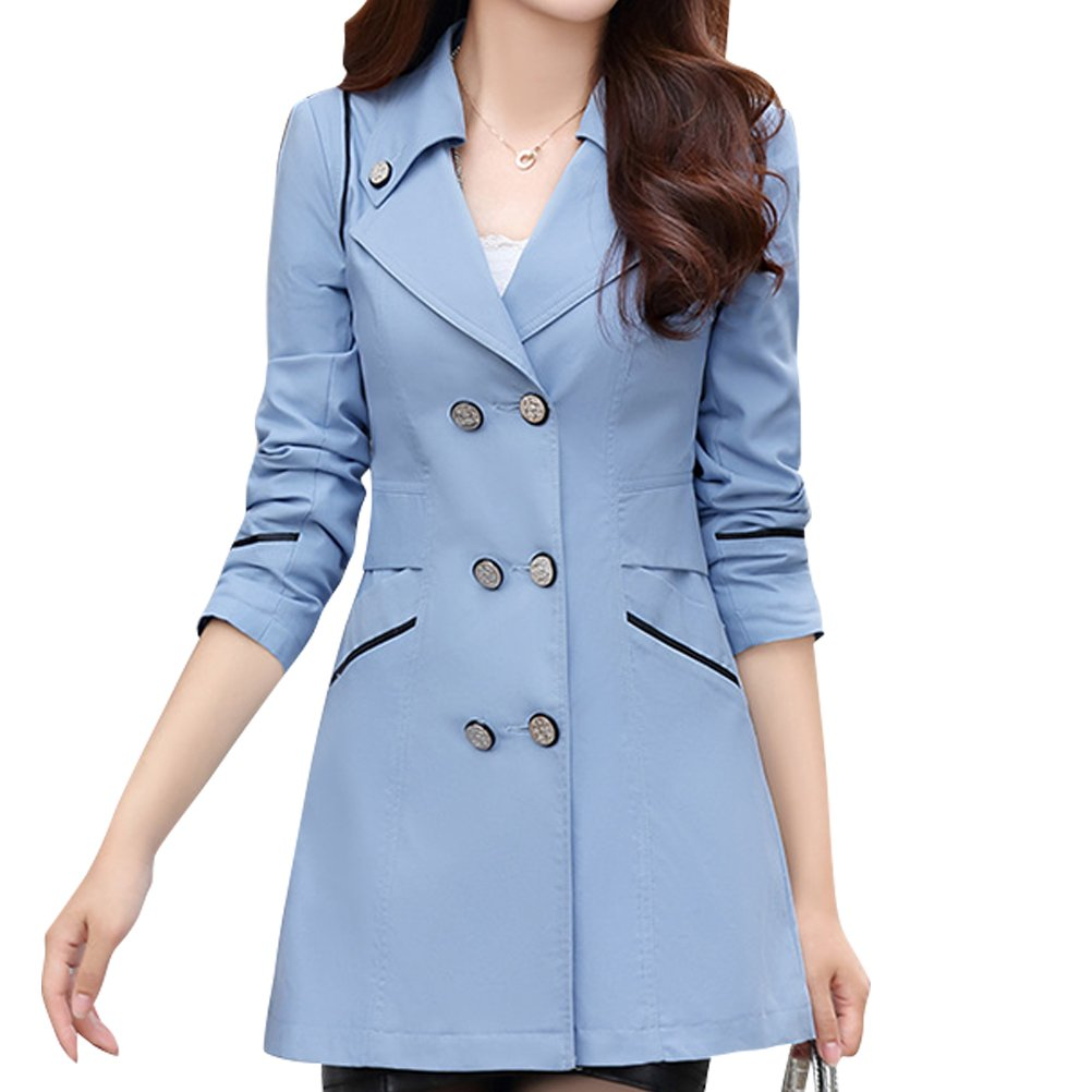 bluee Woman Trench Spring Autumn Winter Woman Crusader Jacket Coat Trench Cotton (color   bluee, Size   XXL)