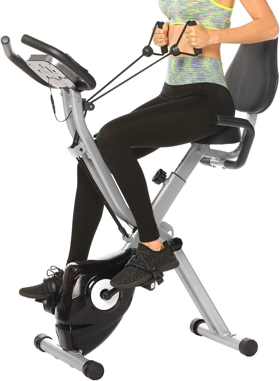 ANCHEER Bicicleta Estática Plegable Bicicleta de Ejercicio 10 Niveles de Resistencia Magnética, con App, Soporte para Tableta Capacidad de Peso:120kg