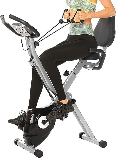 ANCHEER Bicicleta Estática Plegable Bicicleta de Ejercicio 10 Niveles de Resistencia Magnética, con App, Soporte para Tableta Capacidad de Peso:120kg (Gris + Respaldo): Amazon.es: Deportes y aire libre