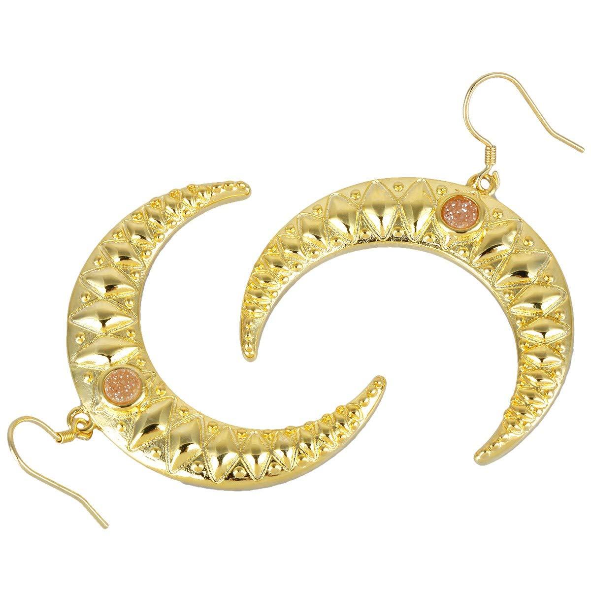 Nupuyai Druzy Crystal Crescent Moon Drop Earrings for Women Double Horn Dangle Hook Earrings for Girls