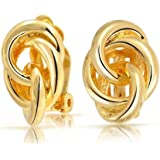 Bling Jewelry Ouvrir Cercle Triple laiton plaqué or Love Knot sur Clip Earrings