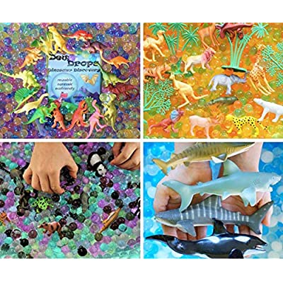 SENSORY4U Water Beads Sensory Bin Therapy Kits - 4 Dew Drop Sets Included - Ocean Sharks, Jungle Excursion, African Safari, Dinosaur Discovery.: Toys & Games