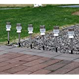 GIGALUMI Solar Lights Outdoor Garden Led Light Landscape / Pathway Lights Stainless Steel-6 Pack