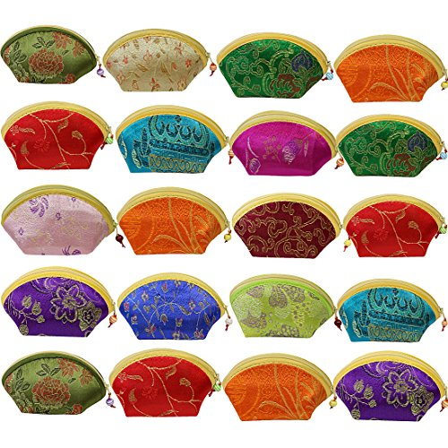 kilofly 20pc Chinese Silk Embroidered Brocade Gift Jewelry Coin Purse Pouch Set