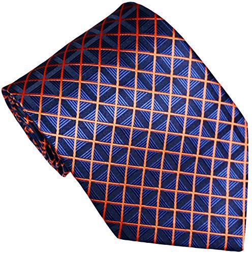New Classic Checks Blue Orange JACQUARD WOVEN Silk Men's Tie Necktie