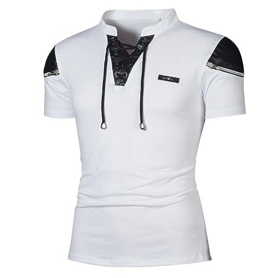 Gusspower 2018 Moda de Verano Camisetas y Polos para Hombre, Moda Personalidad Vendaje Hombres Casual Ajustado Manga Corta Camisa Tops Blusa: Amazon.es: ...