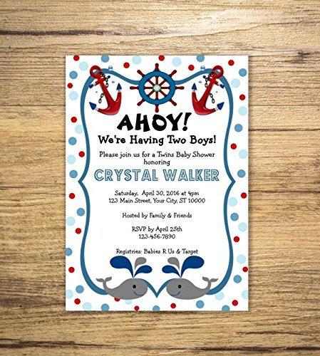 Nautical Twins Baby Shower Invitation, Custom Twins Baby Whale Nautical Theme Baby Shower Invite, Blue and Red Polka Dots, Twin Boys Invitation
