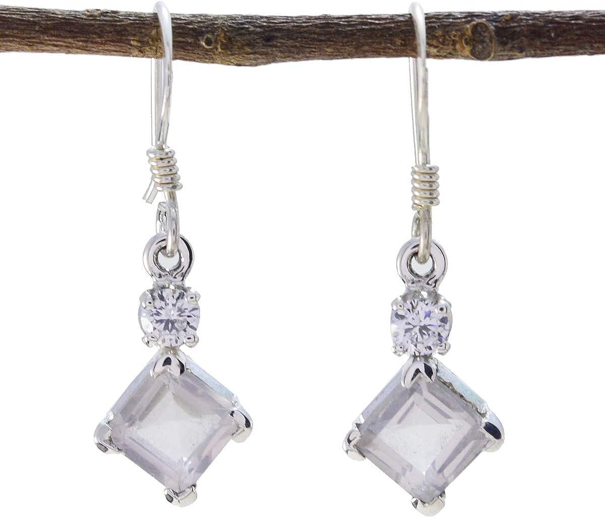 joyas plata bonito cuarzo rosa dos gemas de forma cuadrada facetadas distintivas pendientes de plata 925