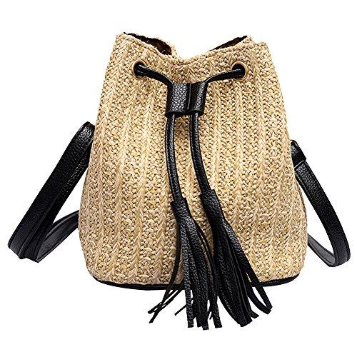 Bolsa Hombro Vintage Tejiendo De De ALIKEEY Bolso Borla Messenger Mujeres Bag Crossbody Khaki Playa Bolso CBdqBwPY