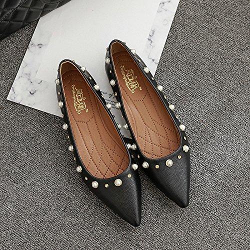 Xue Qiqi Court Schuhe Spitz Flache Schuhe Flacher flach Mund Perle flach Flacher mit einzelnen Schuhen Damen niedrig- Absatz Wildlederschuhe 38 schwarz f9876f