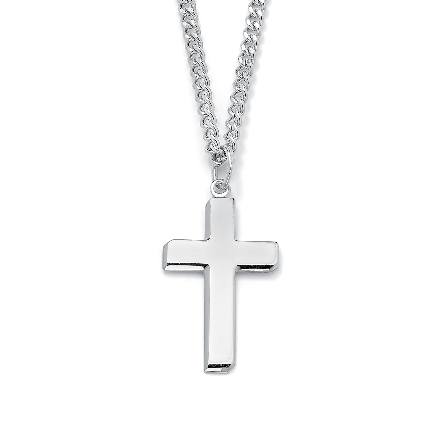 Mens sterling silver cross pendant and stainless steel chain 24 mens sterling silver cross pendant and stainless steel chain 24 amazon jewellery aloadofball Images