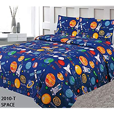 The Liquidator Goods Multicolor Blue Solar System Space Ships & Rockets Universe Galaxy Stars Fun Printed Twin 3 Piece Sheet Set with Pillowcases Flat Fitted Sheet for Boys/Kids (Twin 3 Piece): Home & Kitchen