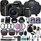 Canon EOS Rebel SL2 DSLR Camera with EF-S 18-55mm f/4-5.6 IS STM Lens + 70-300mm f/4-5.6 Lens + 2 Memory Cards + 2 Auxiliary Lenses + HD Filters + 50 Tripod + Premium Accessories Bundle (25 Items)