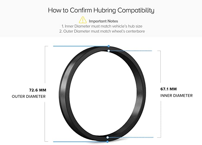 Hub Centric Ring Set 73mm Wheel Bore OD To 67.2mm Hub ID Compatible With Hyundai Mazda Mitsubishi
