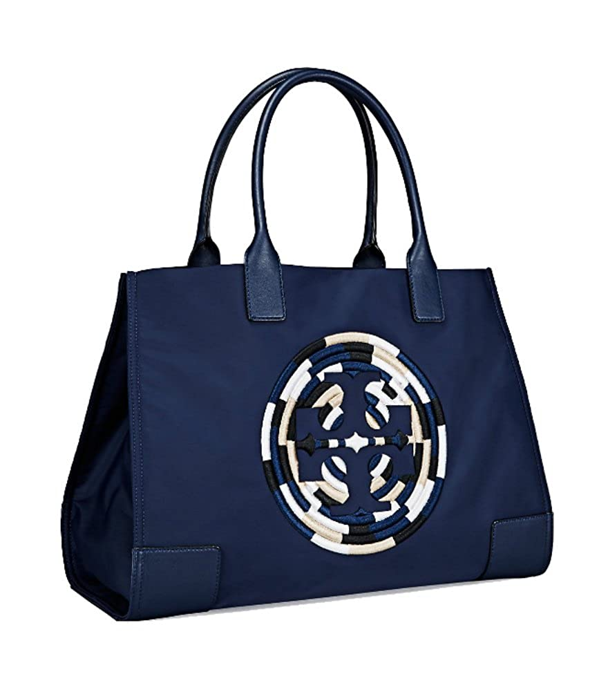 4d91b2f08233 Amazon.com  Tory Burch Women s Ella Nylon Nylon Top-Handle Tote  (Embroidered French Navy)  Shoes