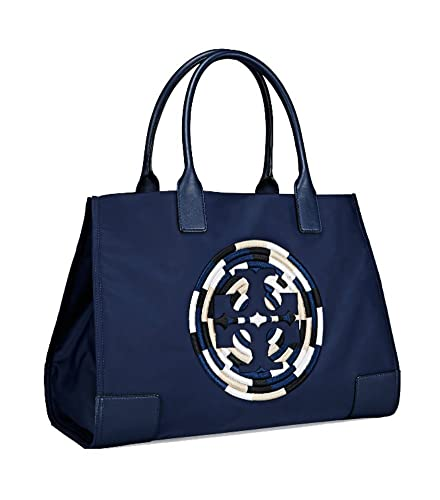 5b27c06f94eb Amazon.com  Tory Burch Women s Ella Nylon Nylon Top-Handle Tote  (Embroidered French Navy)  Shoes