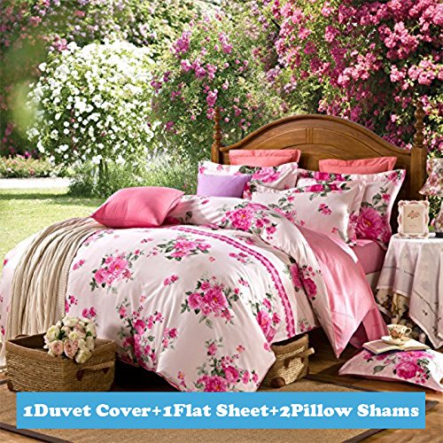 4-pieces Rose Red Pink Peony Flowers White Printed Duvet Cover Sets