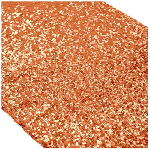 ShinyBeauty Sequin Table Runner for Christmas Orange Handmade Premium Quality Glitz Sequin Table Linen 13 by 108-lnch Sparkly Table Runner and Placemats Decoration