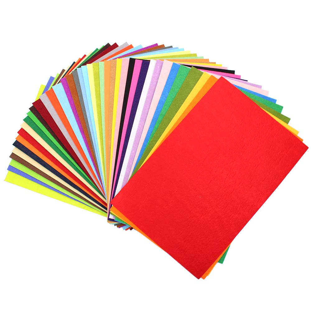 40 Pack - Self Adhesive Backing - 8x12 Crafting Felt Fabric - 40 Colors - 1.5mm Thick Sheets Md trade