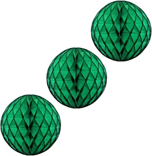 product image for 3-pack 5 Inch Honeycomb Tissue Paper Balls (Dark Green)