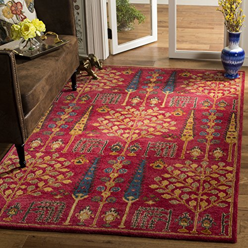 Safavieh HG418Q-3 Heritage Collection Red and Multi Premium Wool Area Rug, 3' x 5',