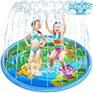 """VSATEN Splash Pad, 68"""" Sprinkler for Kids, Outdoor Summer Water Toys Wading Swimming Pool for Babies and"""