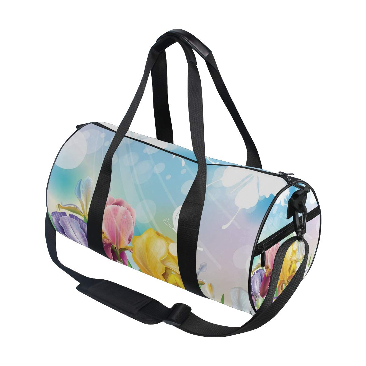 WIHVE Gym Duffel Bag Iris Flower Sunlight Sky Sports Lightweight Canvas Travel Luggage Bag