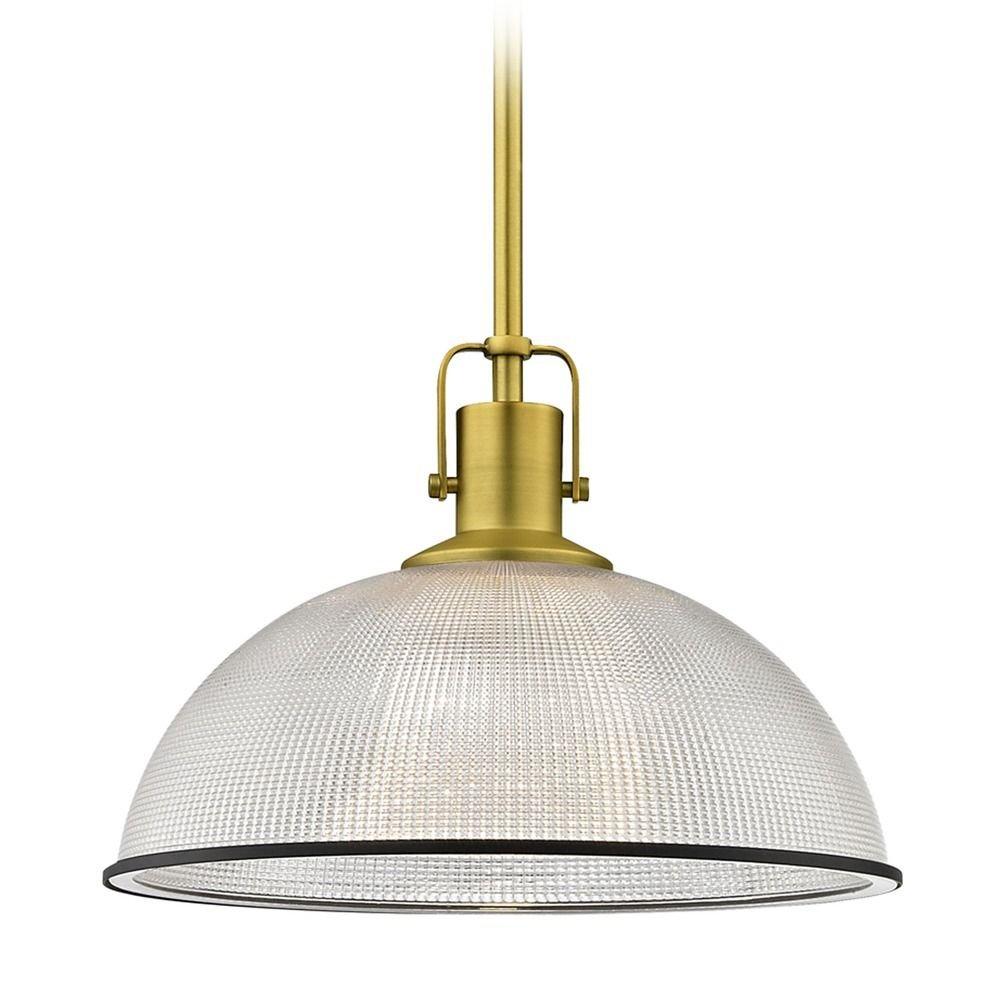 Farmhouse Industrial Prismatic Pendant Light Brass / Black 13.13-Inch Wide