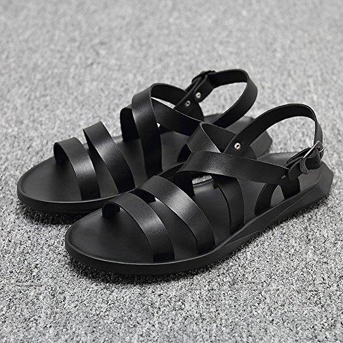 Hebilla Ocasionales de Negro Suave Zapatos Cuero amp;Baby Cinturón Caballeros Negro Sandalias EU Sunny para Tamaño Playa de los Hombres Antideslizante Planas Color 41 O8nwq