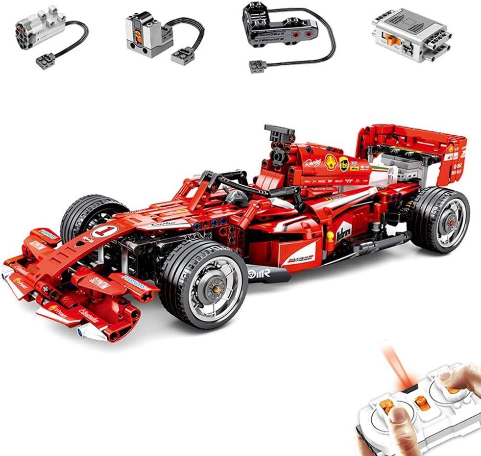 HHtoy Ladrillos de control remoto Super Sports Racer vehículos eléctricos 585PCS Building Blocks RC F1 carreras de motor del coche de energía Juguetes educativos de aprendizaje DIY Kit for niños y adu